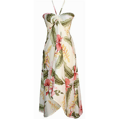 Sexy Tropical Hawaiian Halter Butterfly Party Cruise Luau Floral Dress Cream