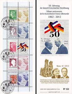 carnet porte timbres 50 ans r conciliation france allemagne de gaulle 2012 ebay. Black Bedroom Furniture Sets. Home Design Ideas