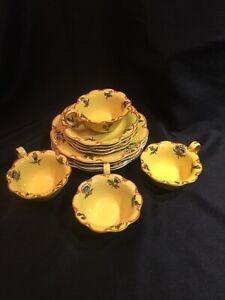 4-Vintage-Este-Marseilles-Yellow-Tea-Cup-Saucer-Plate-Dish-sets