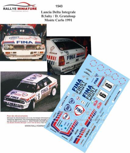 DECALS 1//43 REF 1543 LANCIA DELTA INTEGRALE SABY RALLYE MONTE CARLO 1991 RALLY