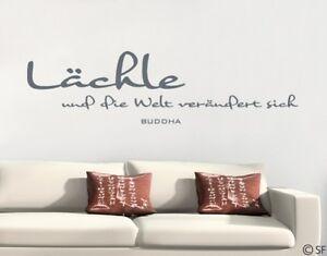 Details zu Wandaufkleber Lächle Buddha Wandtattoo Sprüche uss358 Wohnzimmer  Schlafzimmer