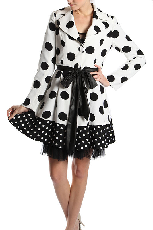 Ryu Big Polka Dot Printed Coat (Weiß schwarz)