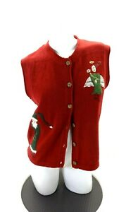 WOOLRICH-WOMEN-039-S-RED-CHRISTMAS-THEME-BUTTON-UP-CARDIGAN-VEST-SIZE-M
