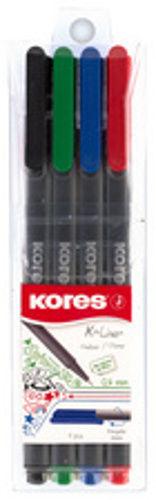 """Kores Fineliner """"K-Liner"""", Strichstärke: 0,4 mm, 4er Etui"""