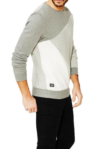 Threadbare Wyoming Mens Jumper Crew Neck Diagonal Panel Long Sleeve Sweatshirt