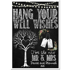 Image Is Loading Personalised Chalkboard Style Wedding Wishing Tree Sign Guest