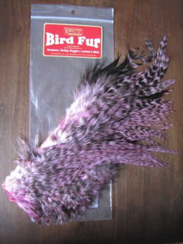 Fly Tying-WHITING FARMS Spey Oiseau fourrure Grizzly teint Shell rose