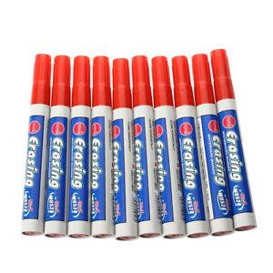 HU-10x-Marqueur-feutre-marker-stylo-rouge-effacable-tableau-blanc-bureau-office