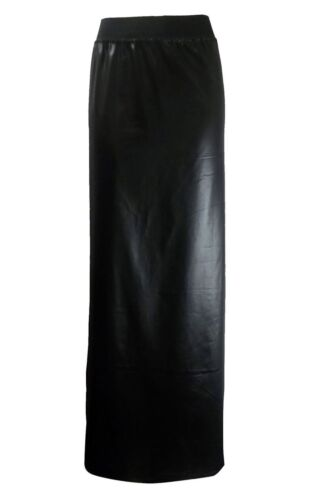 Ladies Wet Look Shiny Long Maxi Skirt Womens Faux Leather Fancy Party Maxi Skirt