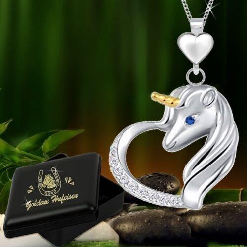 Corazón caballos unicornio herradura circonita remolque collar 925 real plata señora