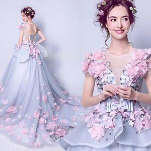 Charming-Flower-Bows-Applique-Wedding-Dress-Bridal-Gown-Custom-Plus-Size-XS-3XL