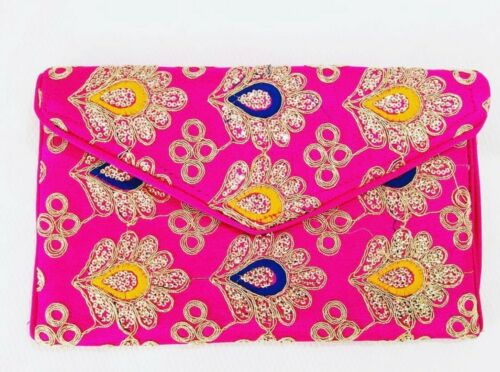 Indian Style Paisley peacock design Pink Clutch Bag Brand New