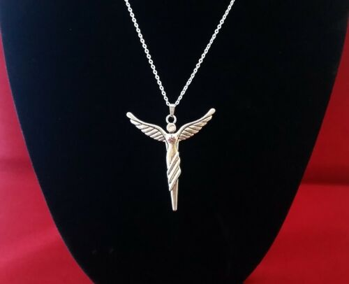 WINGED ANGEL Pendant Hung on a Stamped 925 Sterling Silver Necklace Chain