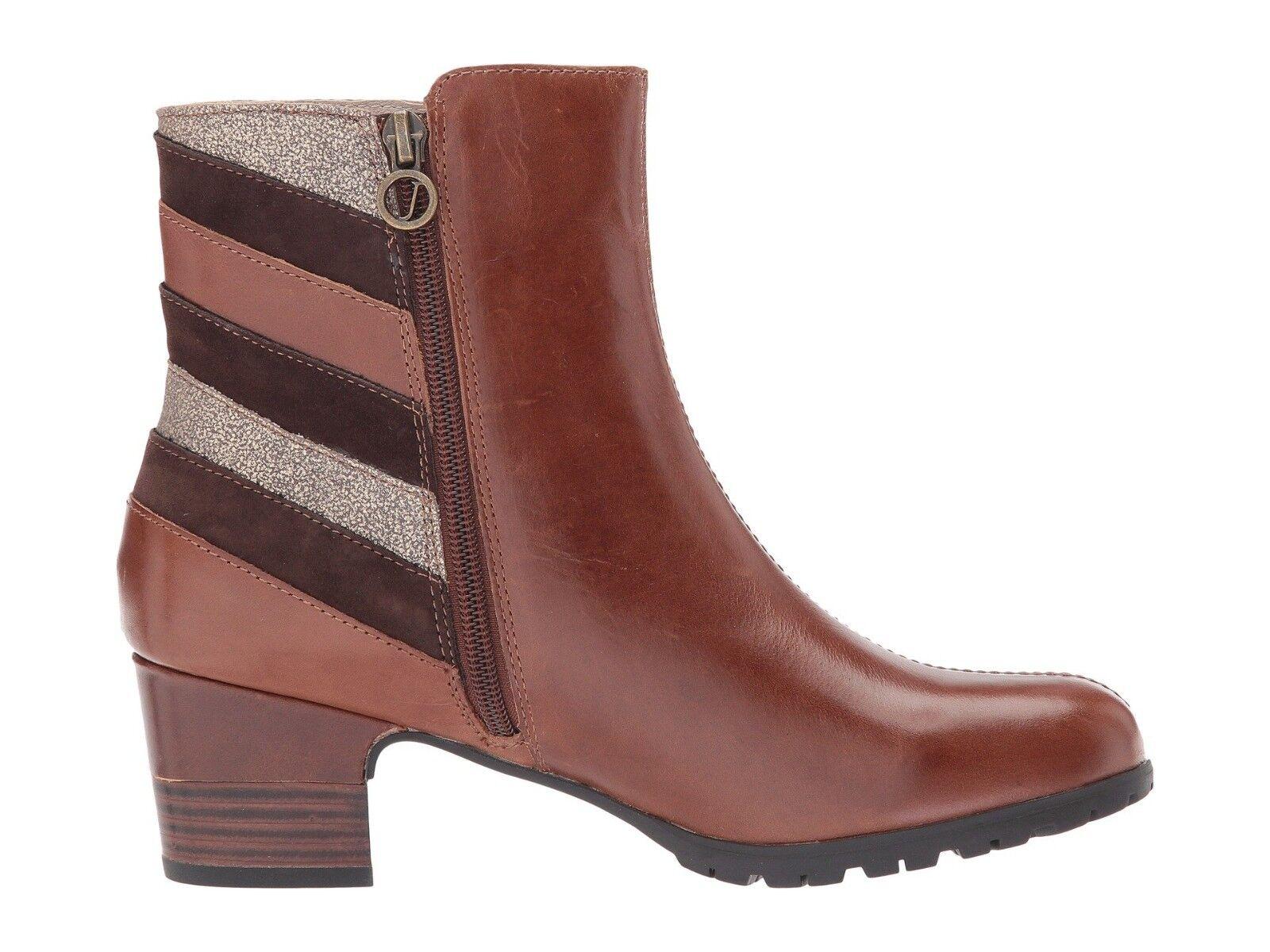 Jambu Amal Water Resistant Block Heel Booties Ankle Boots Brown Stripe Size 10 M