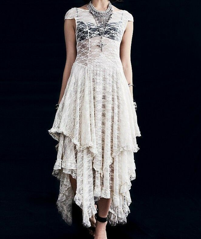 FREE PEOPLE Sheer Lace Intimately French Courtship Tea Slip Dress ☮ MEDIUM