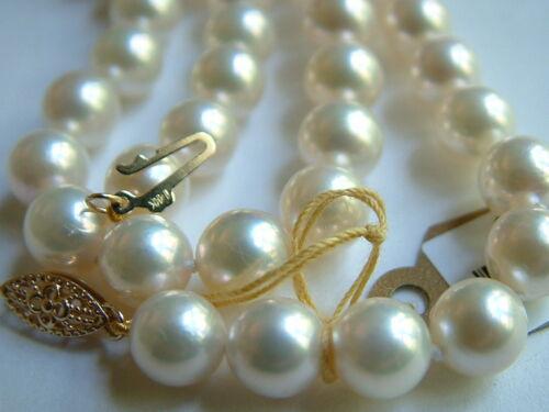 "Super achat Cultured Pearl 18/"" 7-7.5mm Haute Brillance 14k or Massif Fermoir $750"