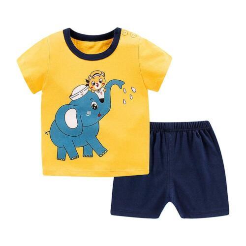 Comfortable 2Pcs Summer Baby Unisex Cartoon Pattern Short T-Shirt Pants Children