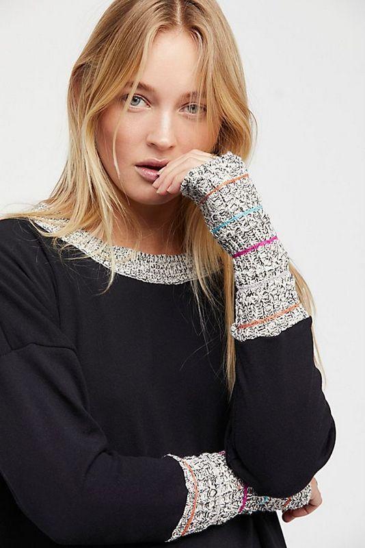 Free People NWT Größe XS Shelley's Knit Cuff Mini Dress Tunic Top NEW schwarz combo
