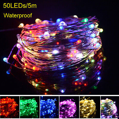5M 50LEDs Copper Wire Christmas Outdoor String Fairy Light Lamp DC12V Waterproof