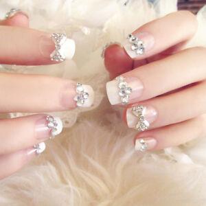 24pcs-Bride-Wedding-3D-Fake-False-Artificial-Fake-Nails-Tips-French-Bow-FingerMA