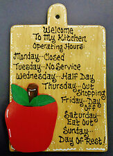 Stained Sign APPLE Kitchen Operating Hours Plaque Wood Wall Hanger Fruit Decor