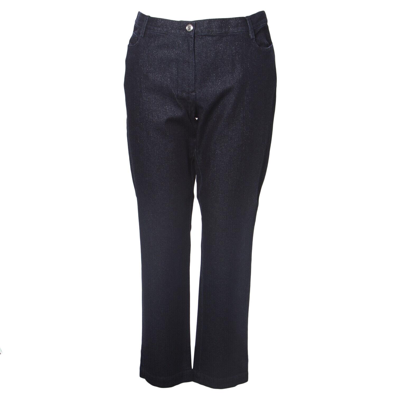 MARINA RINALDI Women's Dark Indigo Igor Slim Shimmer Jeans NWT