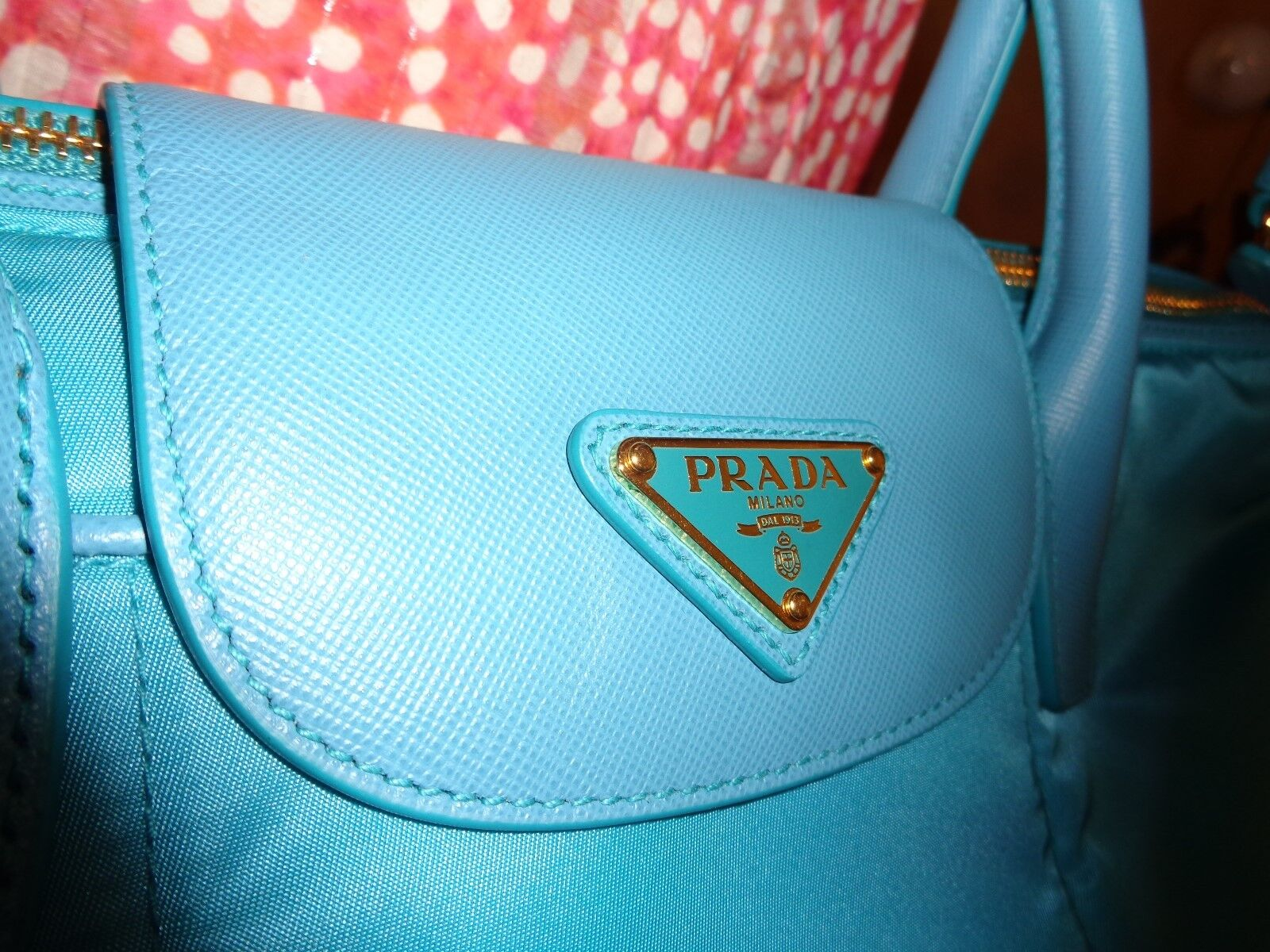7af91959a6fda7 PRADA Tessuto Saffiano Nylon Tote Shoulder Turquoise Bn2106 Dustbag for  sale online | eBay