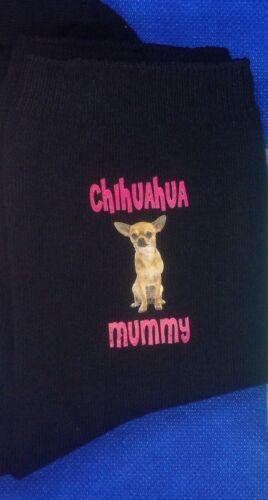 GIFT BAG CHIHUAHUA MUMMY PRINTED SOCKS BIRTHDAY PRESENT LADIES MUM MOTHERS DAY
