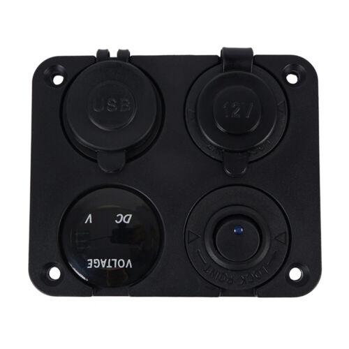 2*USB für Boot 12V-24V LED 4 Gang Schaltpanel Schalter Schalttafel Voltmeter
