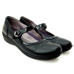 Dansko-Mary-Jane-Wedge-Loafer-Size-41-Black-Leather-10-5-US-Buckle-Strap