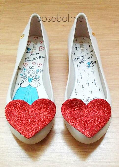 NIB Disney Melissa Ultragirl Sweet Love + Disney NIB Cinderella Red Heart Flats US 7 8 9 10 b78643