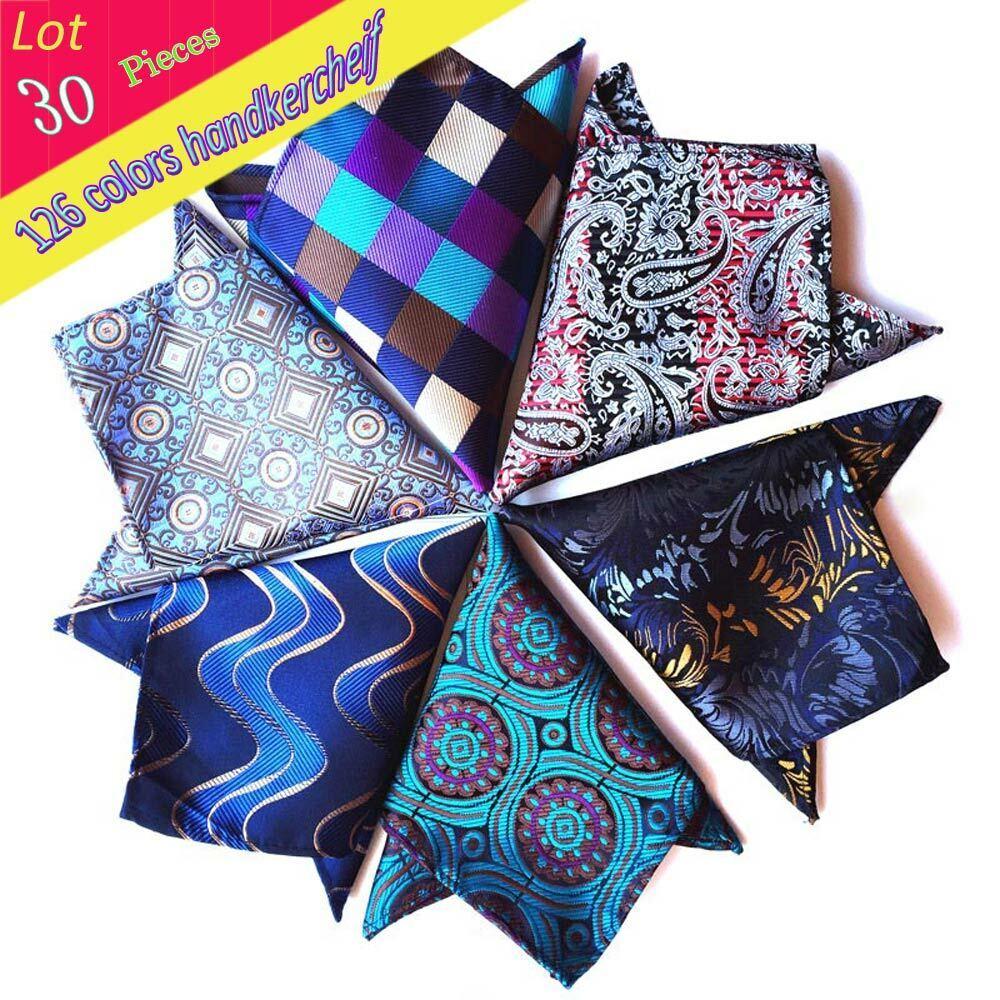 (30 Pcs/Lot) Men's 100% Silk Luxury Pocket Square Paisley Handkerchief Hanky
