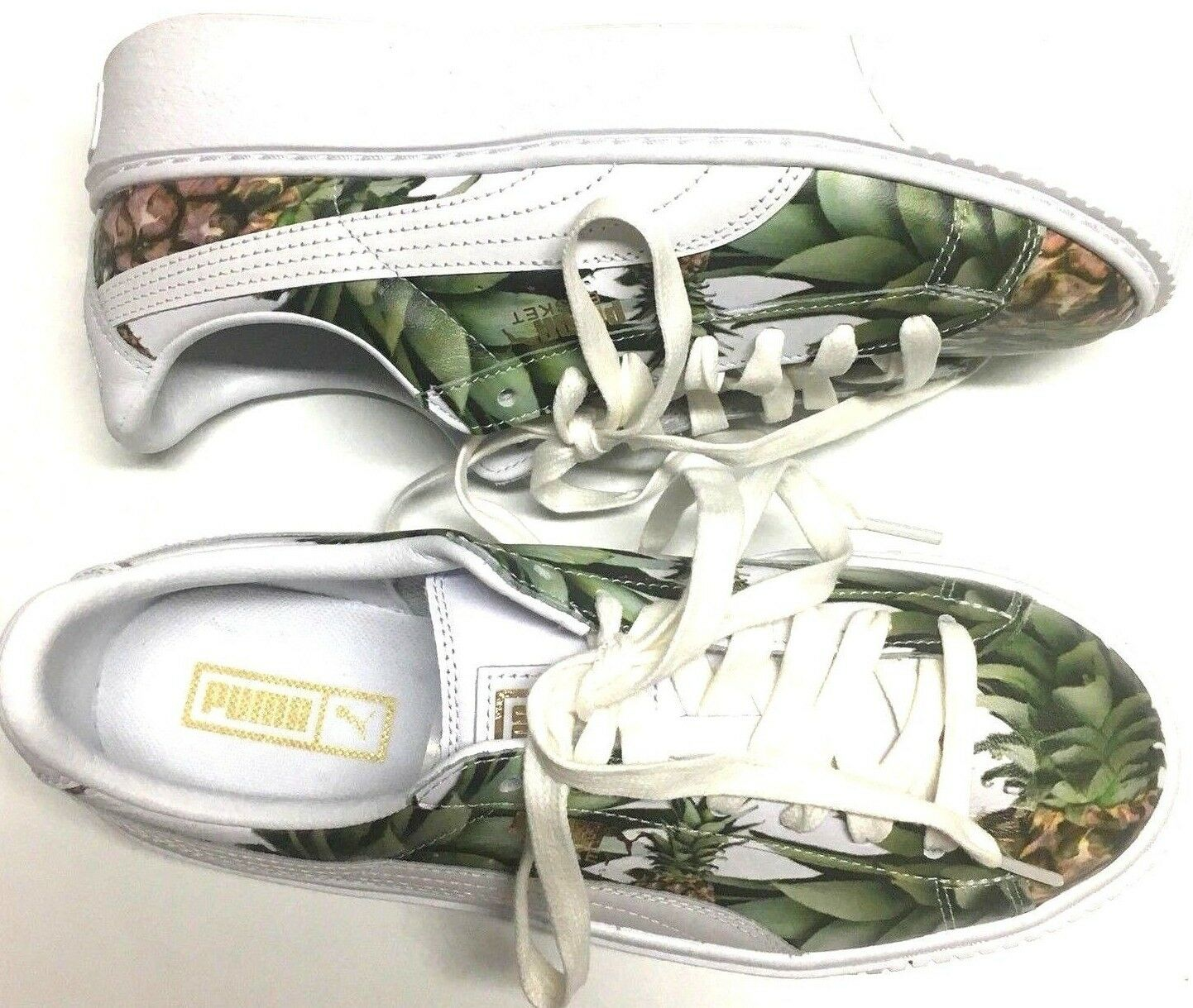 Puma Basket Platform Pineapple Gold White Trainer Girls Sz 7C US