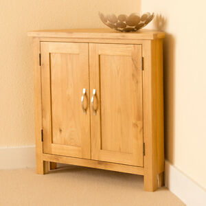 Details About Newlyn Oak Corner Cupboard Hand Crafted Modern Small Light