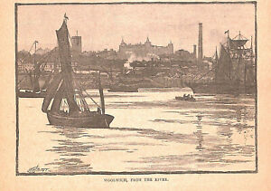 Woolwich-River-Thames-London-1884-Shipping-Historical-River-Antique-Genuine-Art