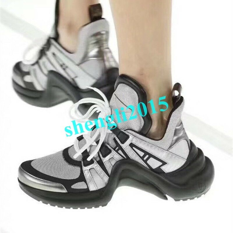 New Mens Platform Breathable Lace up Sports Athletic Shoes Sneakers Running Hot