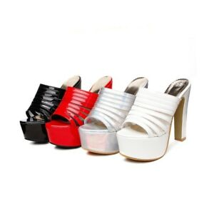 8a088fd91325 Details about Women s Peep Toes Platform Mules High Heels Faux Leather  Sandals Plus Size Shoes