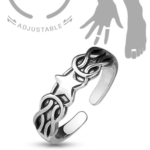 Ajustable Toe Ring//Moyen Bague-FLEUR//Plumes//émail//Plumes//Rainuré