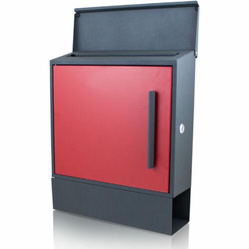 Rot Bituxx Briefkasten Seitenentnahme und Zeitungsfach unten Dunkelgrau