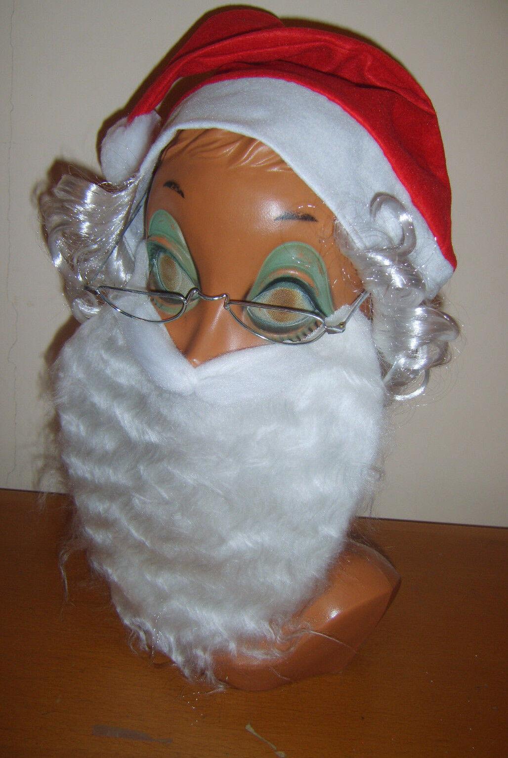 Santa Claus Set Kit Hat Beard Glasses Father Christmas Xmas Fancy Dress Costume
