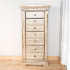 Genial Details About Tall Jewelry Armoire With Mirror Grey Weathered Cabinet  Storage Chest Stand Wood