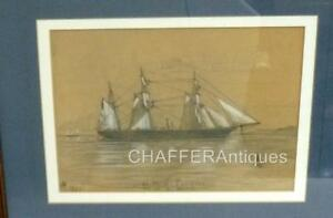 HMS-Pandora-USS-Jeannette-1877-Signed-RARE-Pencil-and-Chalk-Maritime-Drawing