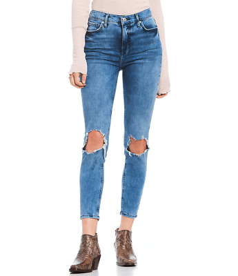 Free People Womens High-Rise Busted Skinny in Turquoise