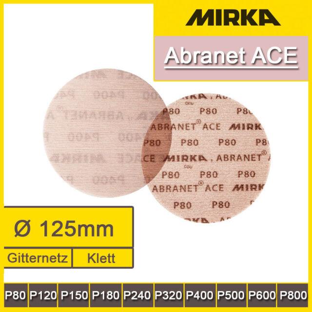 50 St MIRKA Scheiben Abranet Ace Ø 125 mm Klett P500 Gitternetz