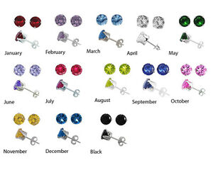Image Is Loading 925 Sterling Silver Cz Birthstone Stud Earrings Sizes