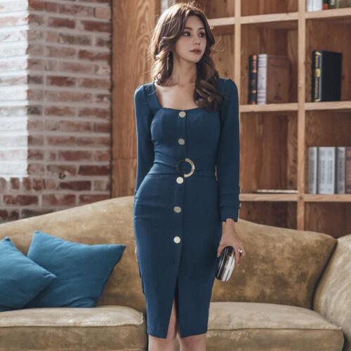 Elegant Hals Up Knie Etuikleid Lang Kleid 4884 Blau Weich tg4xgF
