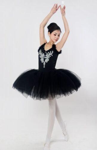 Adult Black Ballet Skirt Veil Tutu Dress tutu Ballet Swan Lake Stage Costume