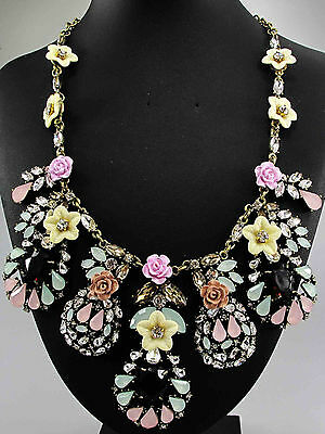 gorgeous pentand Crystal Bib Statement charm chunky colorful collar Necklace 735