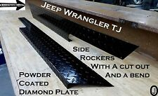 Jeep Wrangler TJ Powder Coated Diamond Plate Rockers with cut out And Bend Set