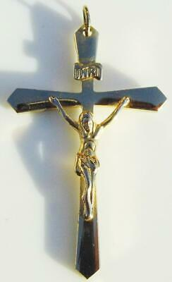 9K Gold Embossed Cross Jewellery Religious Gifts Vintage 9ct Gold Crucifix Pendant